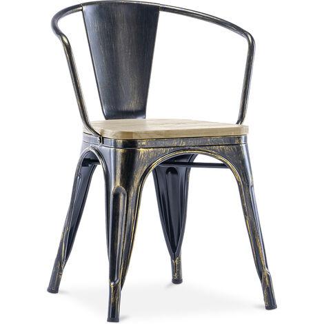 Chaise avec accoudoir style Tolix - Métal et bois clair Bronze métallisé