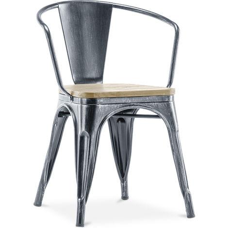 Chaise avec accoudoir style Tolix - Métal et bois clair Industriel