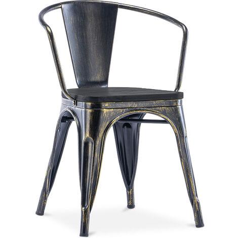 Chaise avec accoudoir style Tolix - Métal et bois foncé Bronze métallisé