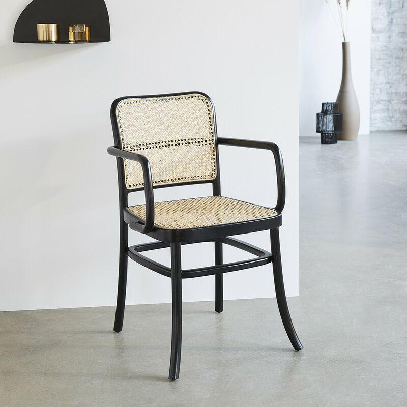 Chaise avec accoudoirs en bois d'acajou et cannage - Noir