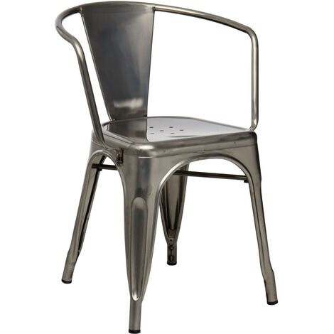 Chaise Avec Accoudoirs LIX Brossee Acier