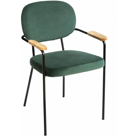Chaise avec accoudoirs velours Talia vert - Vert