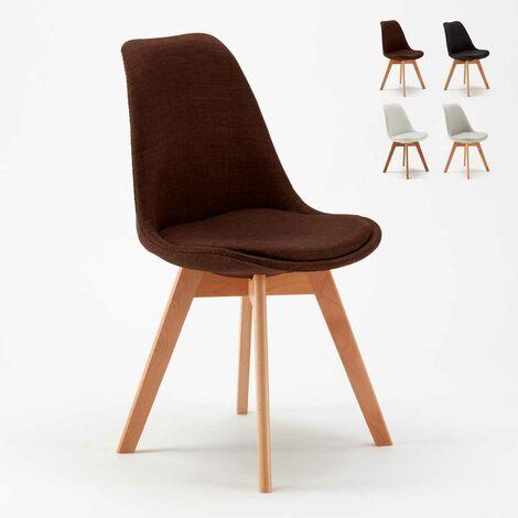 Chaise avec Coussin Scandinave TULIP NORDIQUE Plus Salle à manger et Bar | Marron