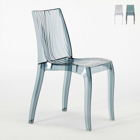 Chaise bar salle à manger polycarbonate transparent empilable DUNE Grand Soleil