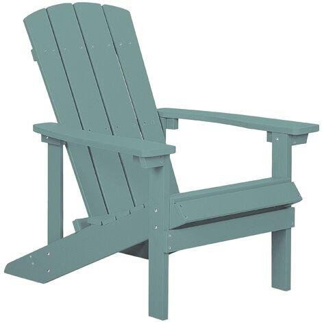 Chaise basse de jardin effet bois bleu clair avec accoudoirs pratiques