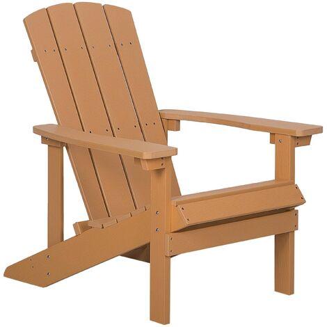 Chaise basse de jardin effet bois marron avec accoudoirs pratiques