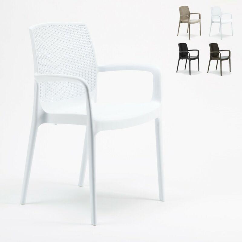 Chaises de Jardin Boheme Bar avec accoudoirs Poly-rotin   Blanc - Grand Soleil