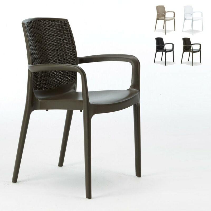 Chaises de Jardin Boheme Bar avec accoudoirs Poly-rotin   Marron - Grand Soleil