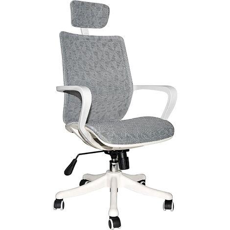 """main image of """"Chaise Bureau Ergonomique, Chaise de Jeu en Maille Respirante Soutien Lombaire, Appui-Tête et Repose-Pieds Réglables (Blanc et Gris, avec Repose-Pieds)"""""""
