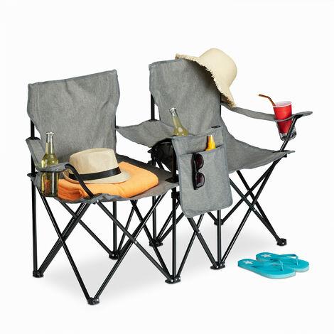 """main image of """"Chaise camping double, fauteuil double pliable, porte boissons, rangement, portable HlP 80x139x46 cm, gris"""""""