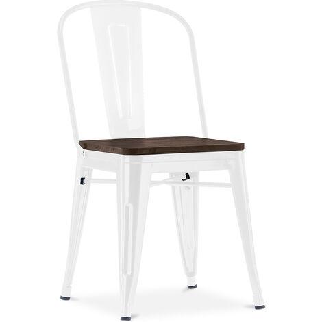 Chaise carrée style Tolix - Métal et bois foncé Blanc
