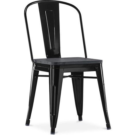 Chaise carrée style Tolix - Métal et bois Noir Noir