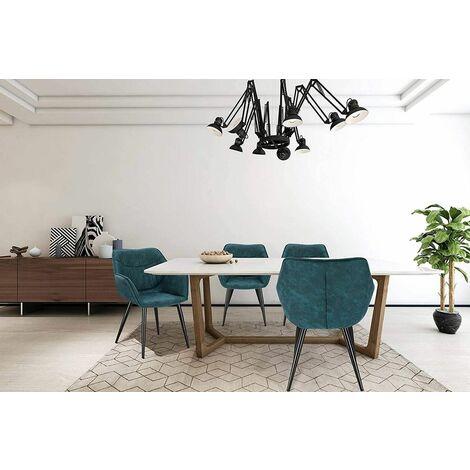 CHAISE chambre en bleu modèle look en cuir antique