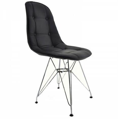 Chaise Charlie simili cuir Noir de salle à manger