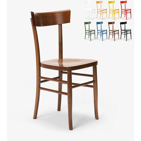 Chaise classique en bois rustique pour salle à manger cuisine bar restaurant Milano
