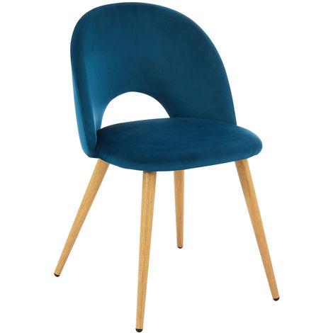 Chaise coloris bleue vintage en velours et métal / imitation bois - Dim : 50 x 55 x 77 cm -PEGANE-