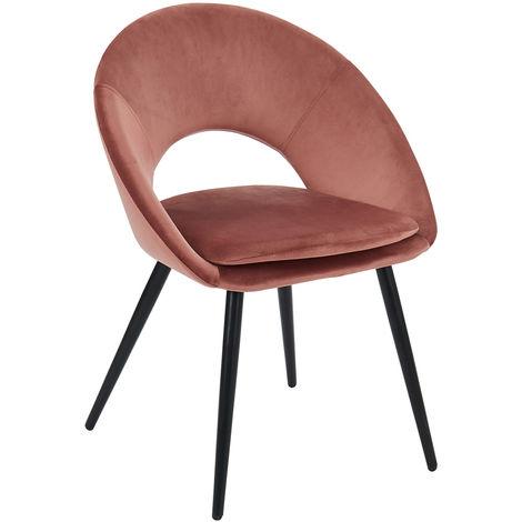 Chaise coloris rose vintage en velours et métal - Dim : 62,5 x 56 x 83 cm -PEGANE-