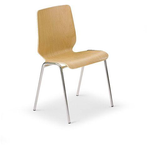 Chaise coque en bois, assise et dossier d'un bloc - piétement chromé, lot de 4 - hêtre naturel