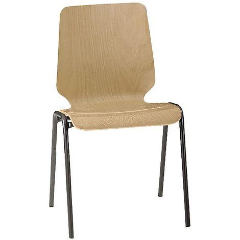 Chaise coque en bois, assise et dossier d'un bloc - piétement peint, lot de 4 - hêtre naturel
