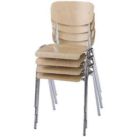Chaise coque en bois, modèle classique - piétement peint, lot de 4 - hêtre naturel