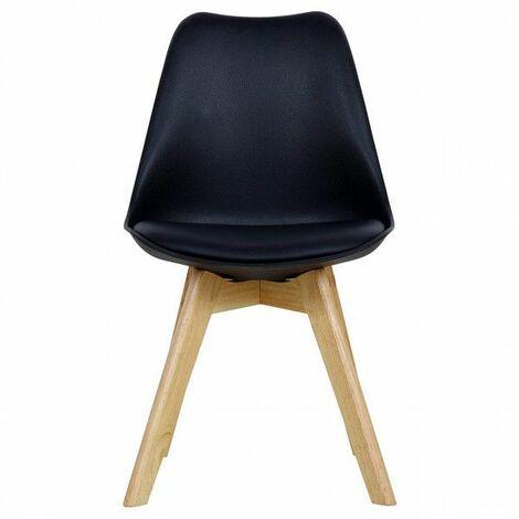 CHAISE cuir artificiel jambes en bois noir