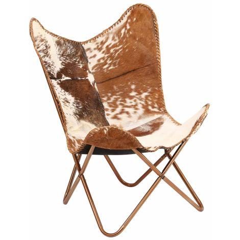 Chaise Cuir veritable de chevre Marron/Blanc Forme de papillon