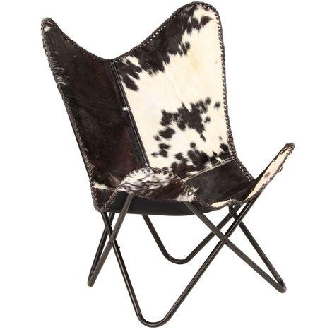 Chaise Cuir veritable de chevre Noir et Blanc Forme de papillon