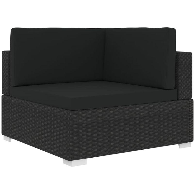 Chaise d'angle 1 pc et coussins Resine tressee Noir
