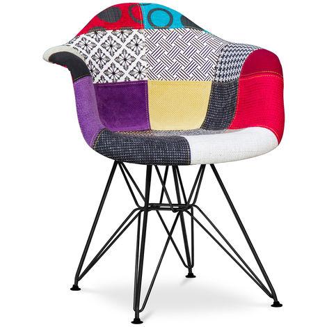 Chaise Darrwick - Piètement Noir - Patchwork Ray Multicolore