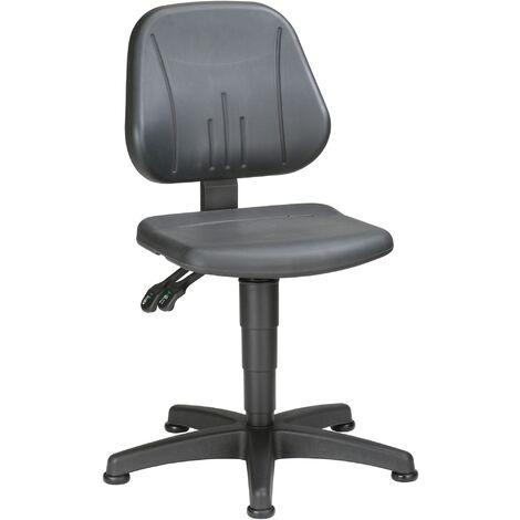 Chaise d'atelier pivotante Unitec patins mousse structurée noir 440-620 mm