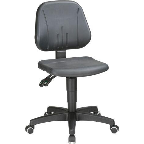 Chaise d'atelier pivotante Unitec roulettes mousse structurée noir 440-620 mm
