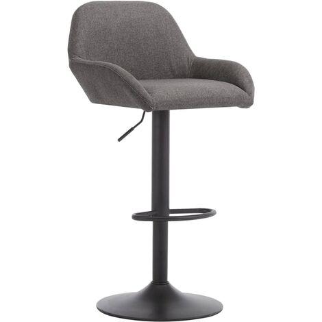 Chaise de bar avec accoudoir Gris foncé Tissu