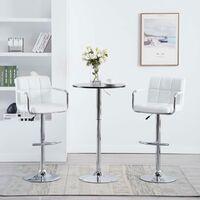 Chaise de bar avec accoudoirs 2 pcs Similicuir Blanc
