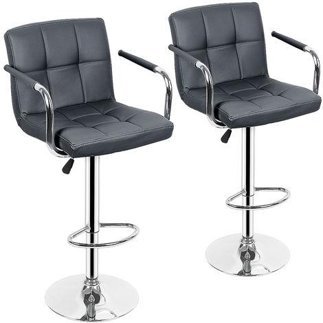 Chaise de bar avec accoudoirs 2 pcs Similicuir Gris deux avec accoudoirs chaise de bar réglable