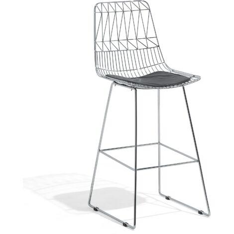 Chaise de bar avec cadre argenté et coussin en simili-cuir