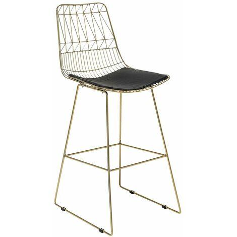 Chaise de bar avec cadre doré et coussin en simili-cuir
