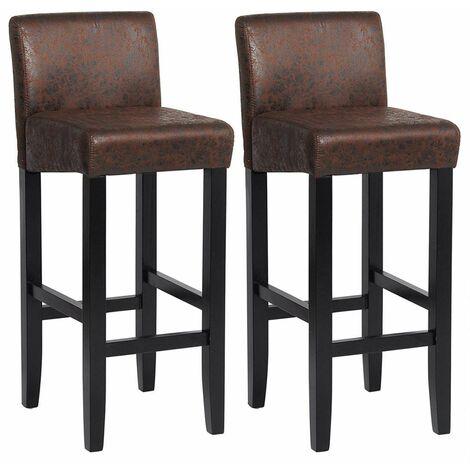 chaise de bar Bistro avec dossier ensemble de 2 noir aspect cuir brun antique