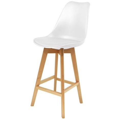 Chaise de bar Blanche en bois et plastique