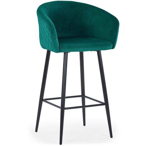 Chaise de bar Bobby Velours Vert - Vert