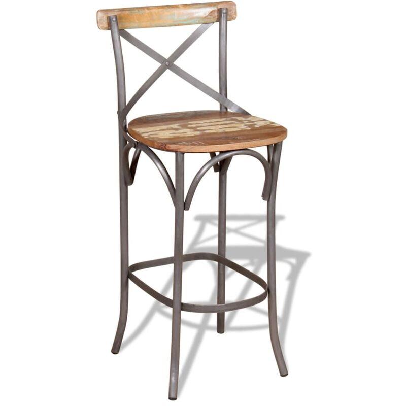 Chaise De Bar Bois Recuperation Massif 45x45x110 Cm