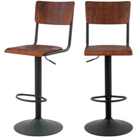 Chaise de bar Clem en bois naturel réglable 60/80 cm (lot de 2) - Bois