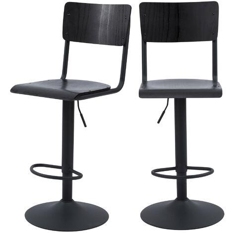 Chaise de bar Clem noire réglable 60/80 cm (lot de 2) - Noir
