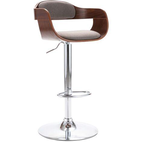Chaise de bar Contreplaqué et tissu taupe