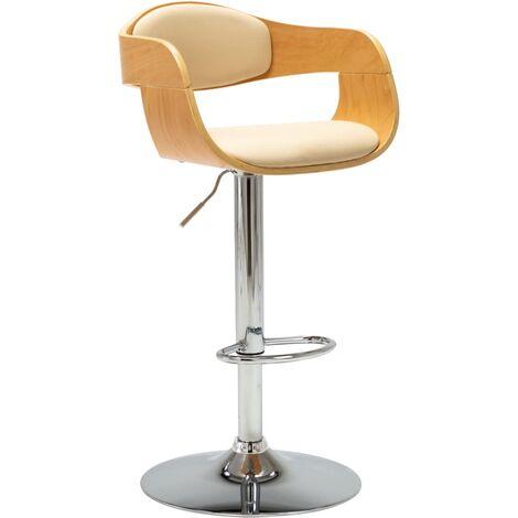 Chaise de bar Crème Bois courbé et similicuir