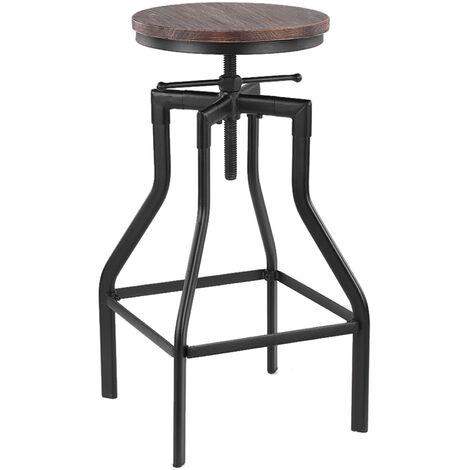 Chaise de bar de style industriel retro Chaise de salle a manger Tabouret de bar Reglage de la hauteur rotative Surface en bois de pin + tuyau en fer