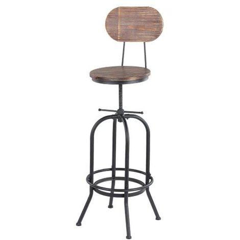 Chaise de bar de style industriel, tabouret de bar en bois réglable en hauteur