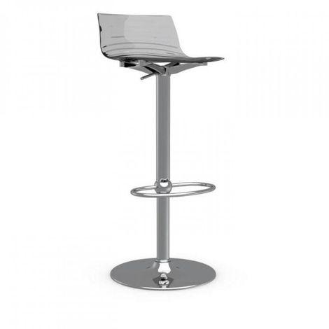 Chaise de bar design L'EAU en polycarbonate gris fumé transparent