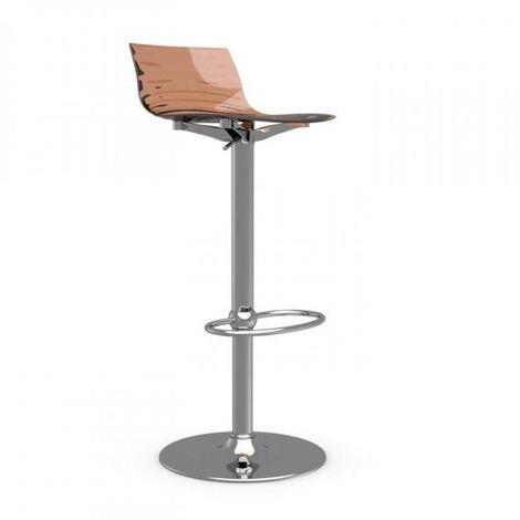Chaise de bar design L'EAU en polycarbonate orange transparent