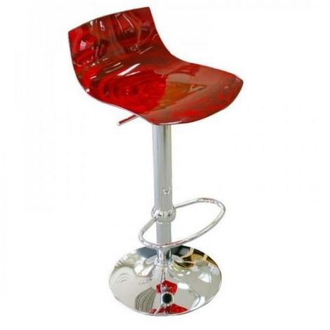 Chaise de bar design L'EAU en polycarbonate rouge transparent