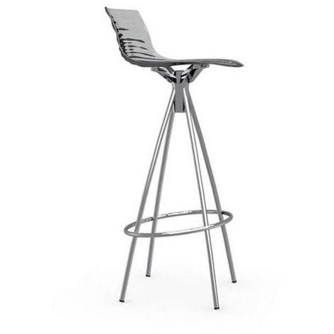Chaise de bar design l'EAU grise fumée transparente